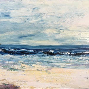 (CreativeWork) Headland by Liz Muir. oil-painting. Shop online at Bluethumb.