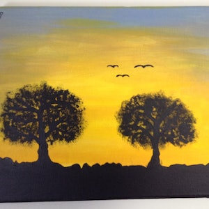 (CreativeWork) Silhouette at Sunrise #1 by Kimberley Nean. arcylic-painting. Shop online at Bluethumb.