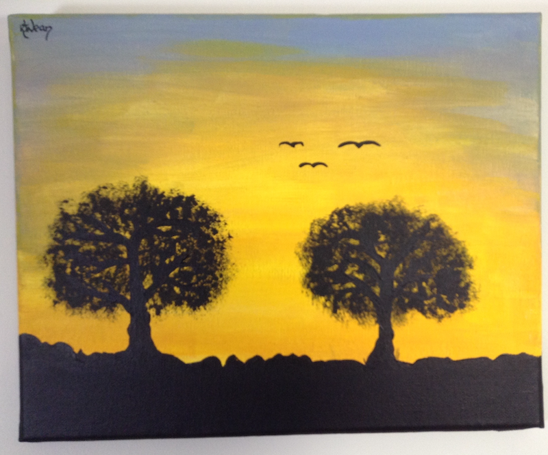 (CreativeWork) Silhouette at Sunrise #1 by Kimberley Nean. Acrylic Paint. Shop online at Bluethumb.
