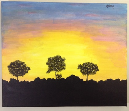 (CreativeWork) Silhouette at Sunrise #2 by Kimberley Nean. arcylic-painting. Shop online at Bluethumb.
