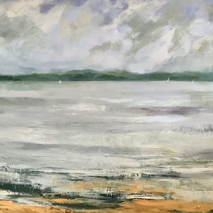 (CreativeWork) Pittwater by Liz Muir. oil-painting. Shop online at Bluethumb.