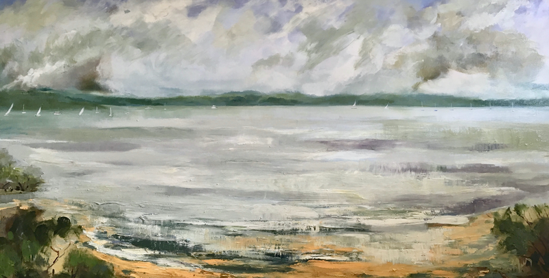 (CreativeWork) Pittwater by Liz Muir. Oil Paint. Shop online at Bluethumb.