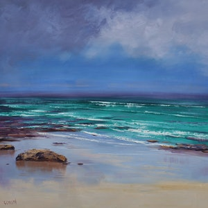 (CreativeWork) Sea Sand & Sky by Graham Gercken. oil-painting. Shop online at Bluethumb.