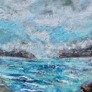 (CreativeWork) Sea Spray by Liz Muir. oil-painting. Shop online at Bluethumb.