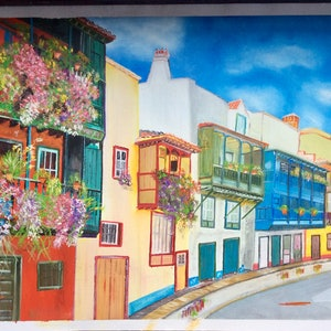 (CreativeWork) Colourful Street  by Ken McWhirter. oil-painting. Shop online at Bluethumb.