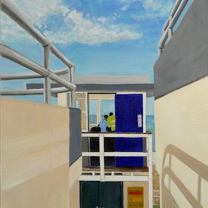 (CreativeWork) Lifesavers Keeping a Lookout by Sylvia Barnes. oil-painting. Shop online at Bluethumb.