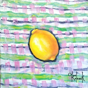 (CreativeWork) Striped Lemon by Olga Kolesnik. arcylic-painting. Shop online at Bluethumb.