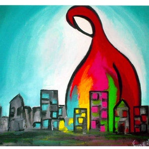 (CreativeWork) art gives colour in the city by grace wilkinson. arcylic-painting. Shop online at Bluethumb.