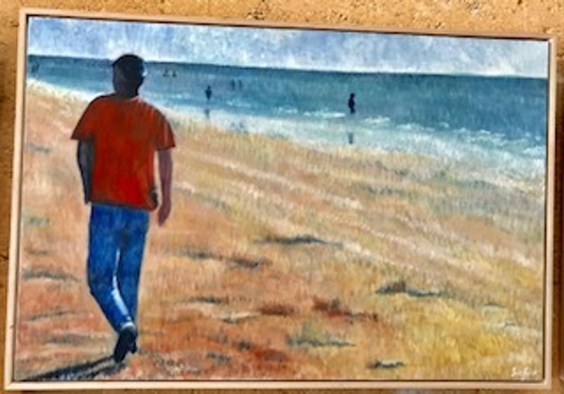 (CreativeWork) Blue jean strut by Sue Fuller. oil-painting. Shop online at Bluethumb.