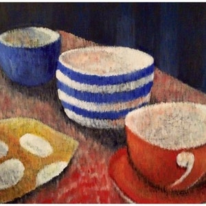 (CreativeWork) Teatime by Sue Fuller. arcylic-painting. Shop online at Bluethumb.