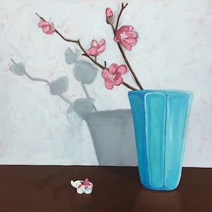 (CreativeWork) Plum blossom and incense holder by Sandra Jenkins. oil-painting. Shop online at Bluethumb.