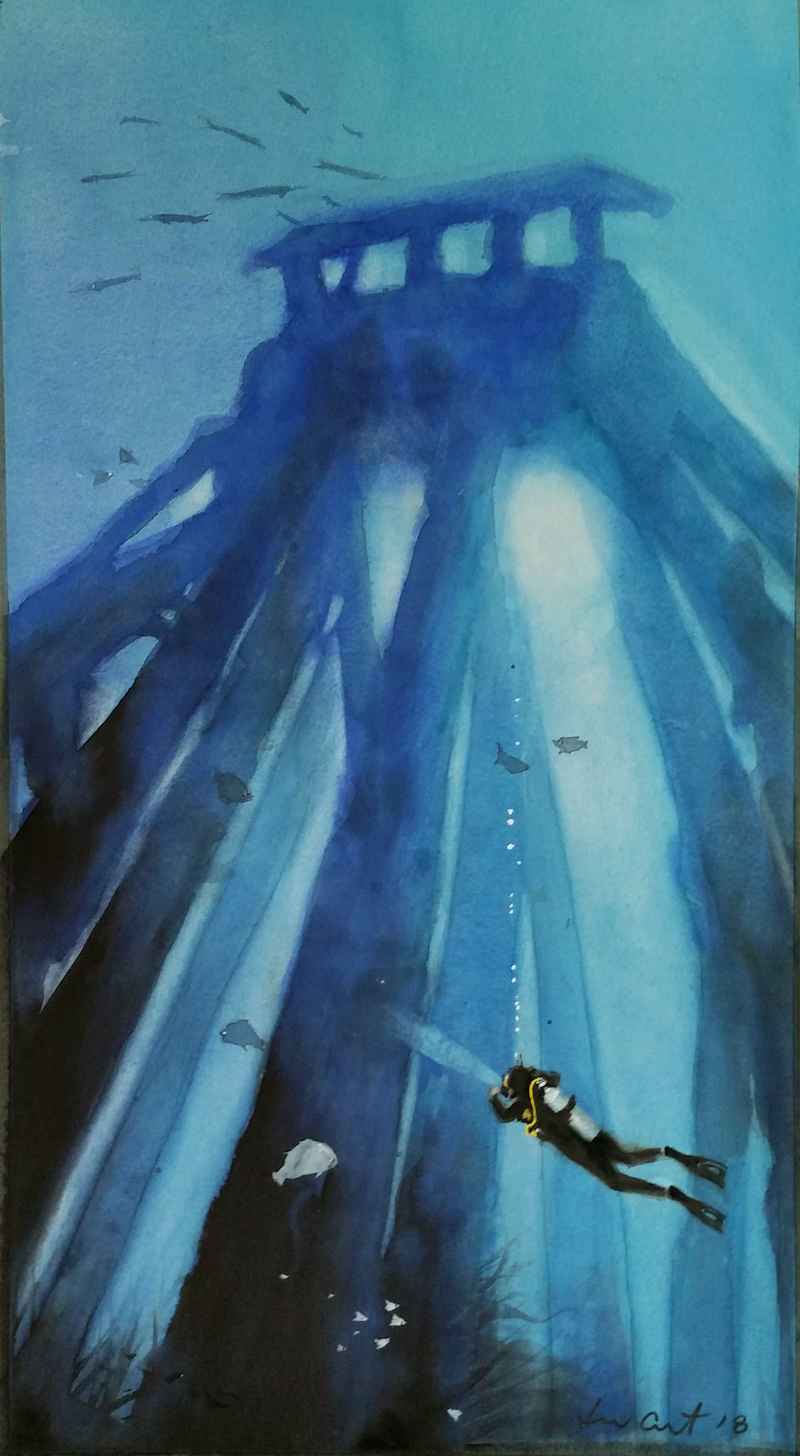 (CreativeWork) blue pier diver  by peter smart. watercolour. Shop online at Bluethumb.