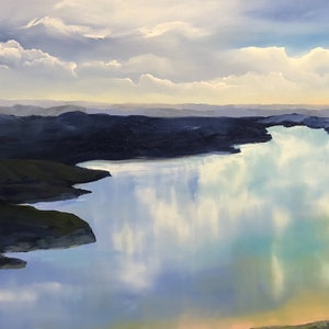 (CreativeWork) Blue Lake Panorama by Meredith Howse. oil-painting. Shop online at Bluethumb.