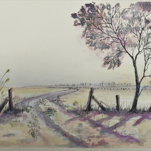 (CreativeWork) Winter Morn by Lucinda Leveille. watercolour. Shop online at Bluethumb.