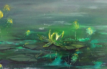(CreativeWork) The Water Garden II by Deb Brown. arcylic-painting. Shop online at Bluethumb.