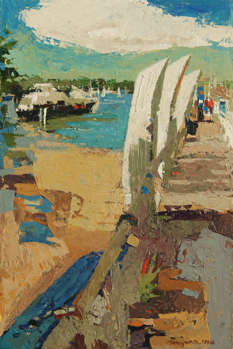 (CreativeWork) Hunters Hill Wharf, Sydney by Tetyana Khytko. arcylic-painting. Shop online at Bluethumb.