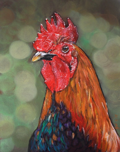 (CreativeWork) Noble Rooster by Julie Hollis. arcylic-painting. Shop online at Bluethumb.
