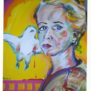 (CreativeWork) self portrait for peace by grace wilkinson. arcylic-painting. Shop online at Bluethumb.