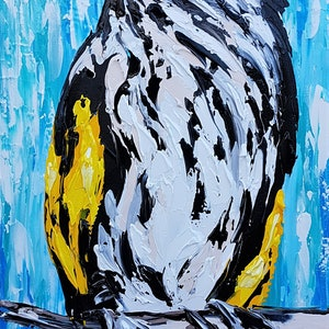 (CreativeWork) New Holland Honey Eater  by Lisa Fahey. arcylic-painting. Shop online at Bluethumb.
