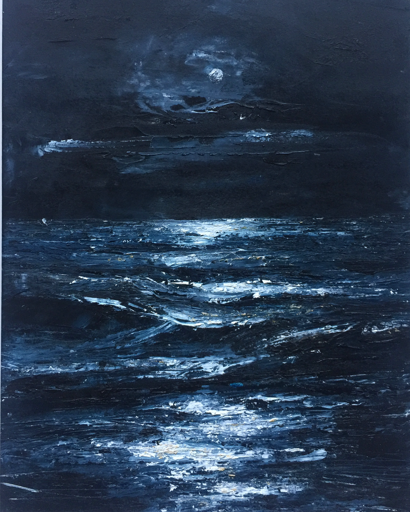 (CreativeWork) Moonlit A2 White Frame by Tiffany Blaise. oil-painting. Shop online at Bluethumb.