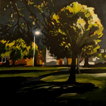 (CreativeWork) Dark Park by Nicole Frankel. arcylic-painting. Shop online at Bluethumb.