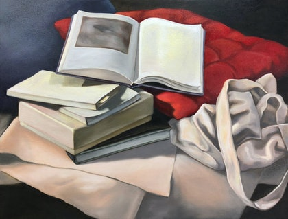 (CreativeWork) Still life with books by maria radun. oil-painting. Shop online at Bluethumb.