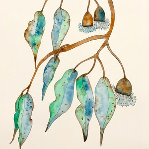 (CreativeWork) Blue Gum by Kirsty Anderson. watercolour. Shop online at Bluethumb.