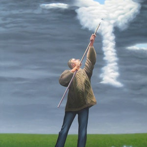 (CreativeWork) The cloud picker by Patricia Van Lubeck. oil-painting. Shop online at Bluethumb.