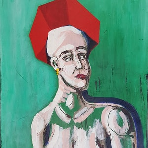 (CreativeWork) Girl with Red Hat by Sam Patterson-Smith. arcylic-painting. Shop online at Bluethumb.