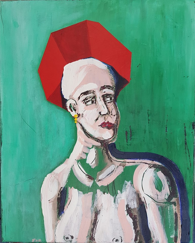 (CreativeWork) Girl with Red Hat by Sam Patterson-Smith. Acrylic Paint. Shop online at Bluethumb.