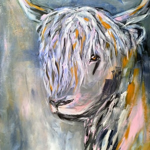 (CreativeWork) Highlands Cow by Amanda Skye. arcylic-painting. Shop online at Bluethumb.