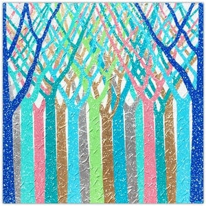 (CreativeWork) Trees - Dreamy Rain Forest Abstract (spring special save $250) by Miranda Lloyd. mixed-media. Shop online at Bluethumb.