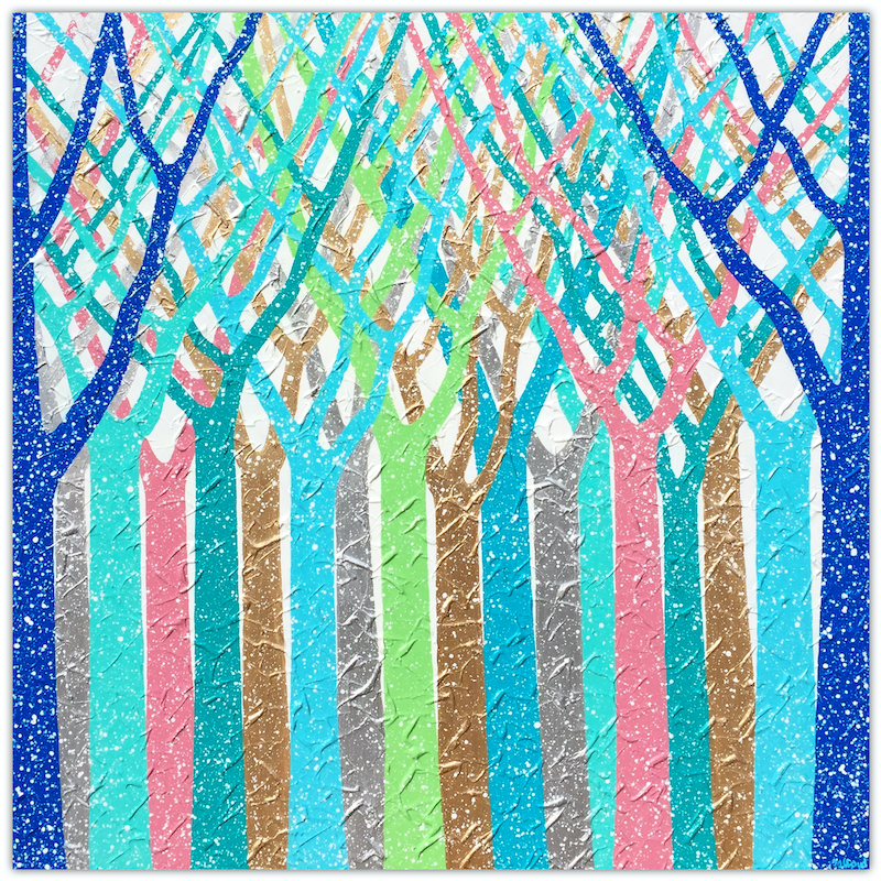 (CreativeWork) Trees - Dreamy Rain Forest Abstract (winter special save $100) by Miranda Lloyd. mixed-media. Shop online at Bluethumb.