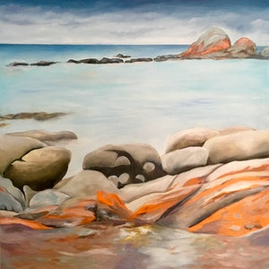 (CreativeWork) Bay of Fires by Meredith Howse. oil-painting. Shop online at Bluethumb.