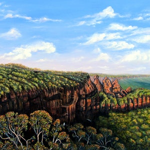 (CreativeWork) Towards Echo Point, Blue Mountains by Linda Callaghan. arcylic-painting. Shop online at Bluethumb.