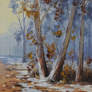 (CreativeWork) Winter trees Australia by Graham Gercken. oil-painting. Shop online at Bluethumb.