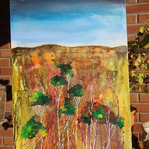 (CreativeWork) Gorge by Stephen Mills. mixed-media. Shop online at Bluethumb.