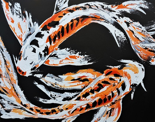 (CreativeWork) Just a Couple of Koi by Lisa Fahey. Acrylic. Shop online at Bluethumb.