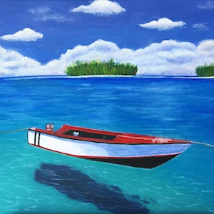 (CreativeWork) Adrift by Jessica Zhang. arcylic-painting. Shop online at Bluethumb.