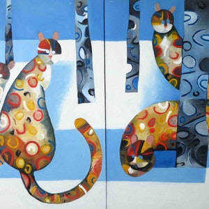 (CreativeWork) Snow Cats - Diptych - two paintings that can be hung in different combinations - SALE by John Graham. oil-painting. Shop online at Bluethumb.