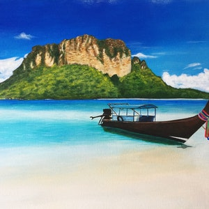 (CreativeWork) A floating boat by Jessica Zhang. arcylic-painting. Shop online at Bluethumb.
