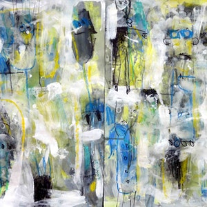 (CreativeWork) Expressionist Ghosts - Diptych - Sale large work  by John Graham. mixed-media. Shop online at Bluethumb.