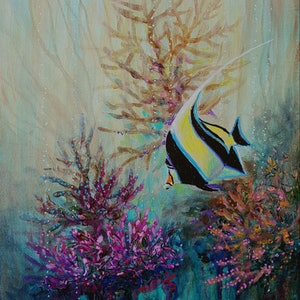 (CreativeWork) Moorish idol by Eugene Rubuls. arcylic-painting. Shop online at Bluethumb.