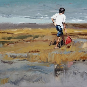 (CreativeWork) One Boy by Claire McCall. oil-painting. Shop online at Bluethumb.