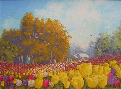 (CreativeWork) Floriade - Canberra 02 by Kith Gunawardane. oil-painting. Shop online at Bluethumb.