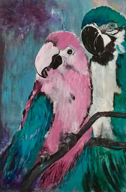 (CreativeWork) Love Birds by Valerie Eugarde. arcylic-painting. Shop online at Bluethumb.