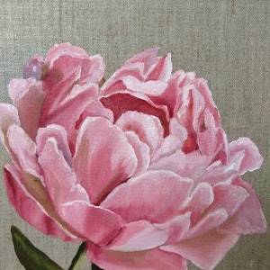 (CreativeWork) Peony on linen canvas board by Helen Syngaris. oil-painting. Shop online at Bluethumb.