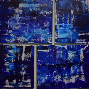 (CreativeWork) Blue - four ways ( a collection of four paintings) by Ric Connors. arcylic-painting. Shop online at Bluethumb.