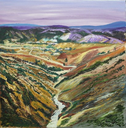 (CreativeWork) FINDING QUEENSTOWN - TASMANIA by Ralph Coles. Oil Paint. Shop online at Bluethumb.