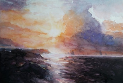 (CreativeWork)  black sea copy by peter smart. watercolour. Shop online at Bluethumb.